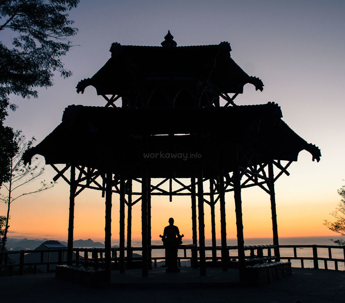 yoga pavilion with sunset