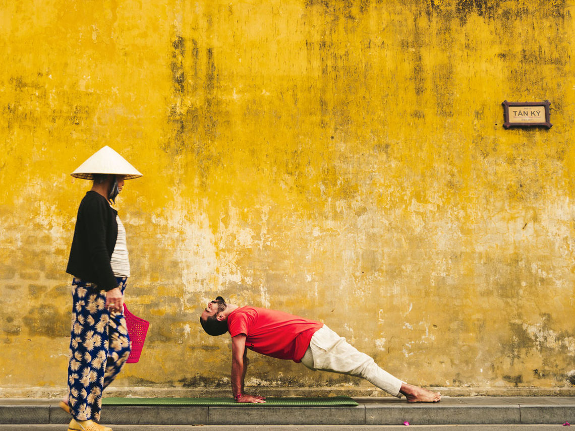creative shot of yoga host in vietnam