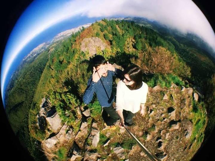 birds eye view of couple hiking