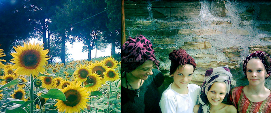 sunflowers and kids