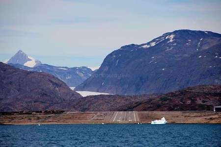 greenland airport ice fjords snow mountains