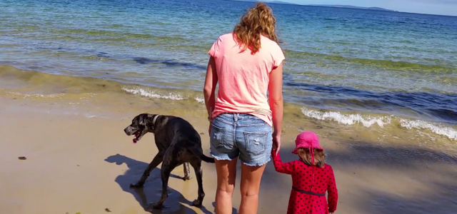 workawayer on beach with little girl and dog