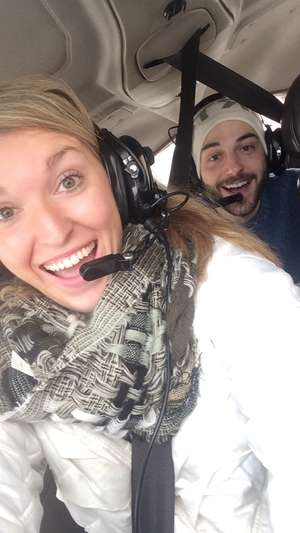 travel bloggers flying a plane