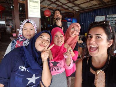 workawayers with malay girl students