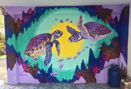mural of purple turtles
