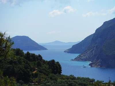 skopelos greece scenery sea mountains