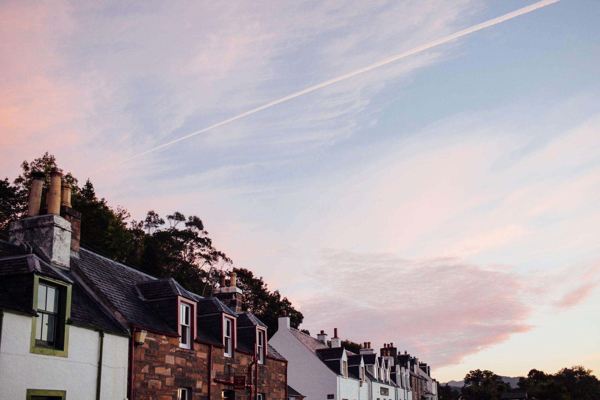 scotland rooftops pink sky