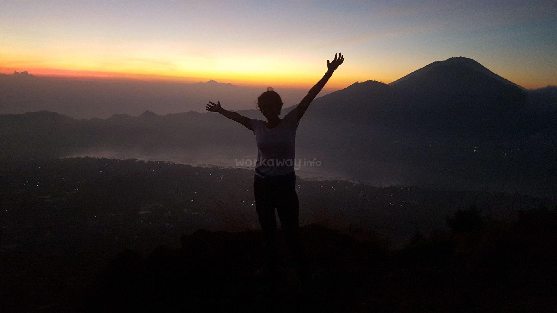 workawayer hiking sunrise background