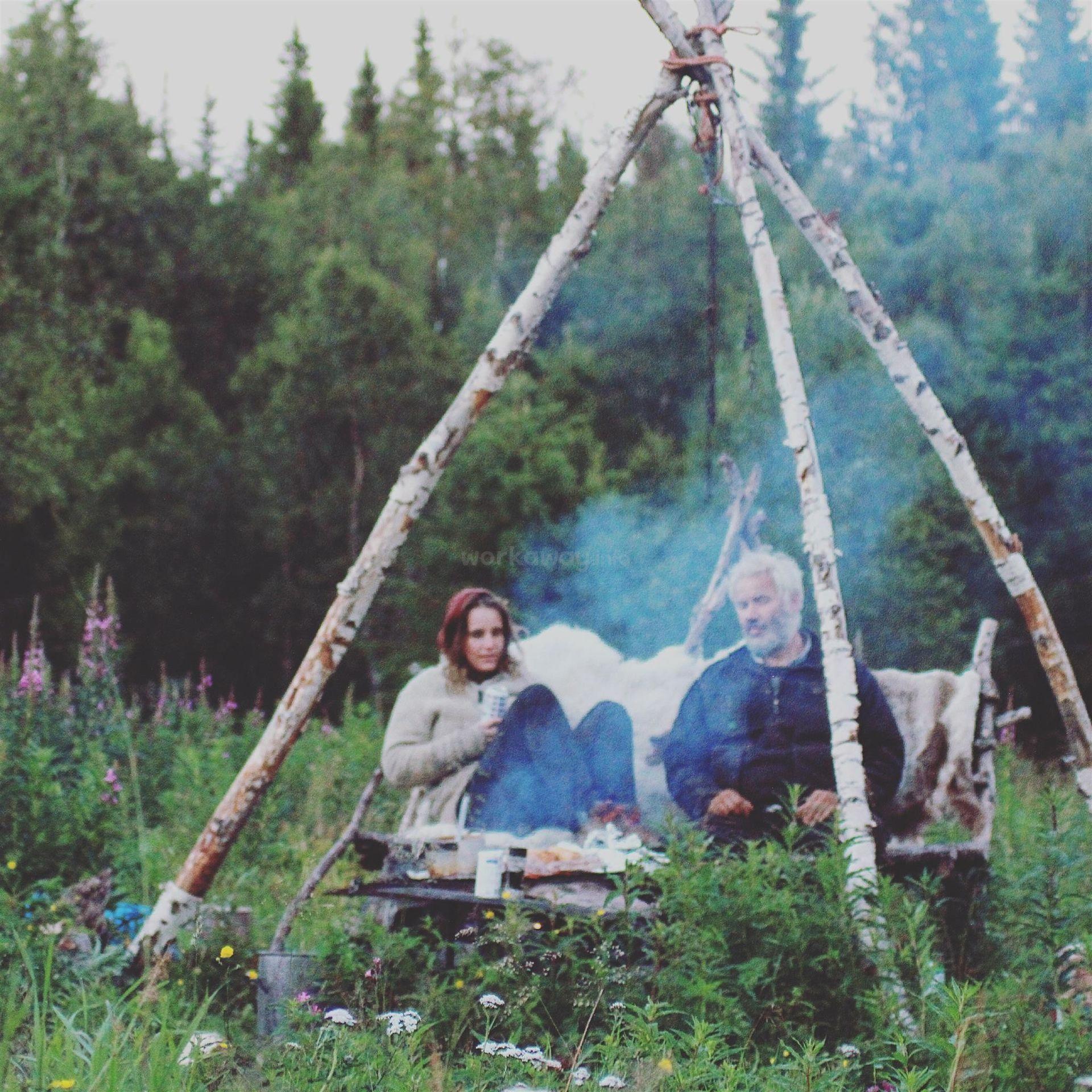 workawayer marije with host in the woods
