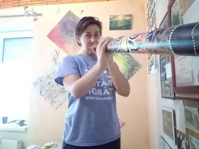 zsuzsa playing didgeridoo