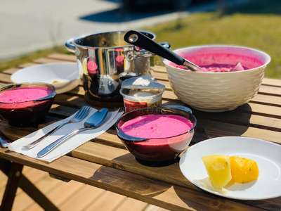 Lithuanian beet soup outdoors