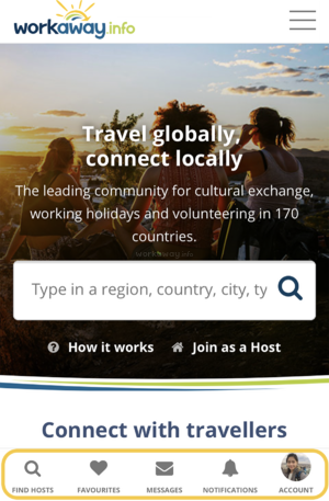 workaway mobile account tabs