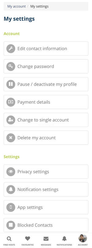 workawayer mobile account settings