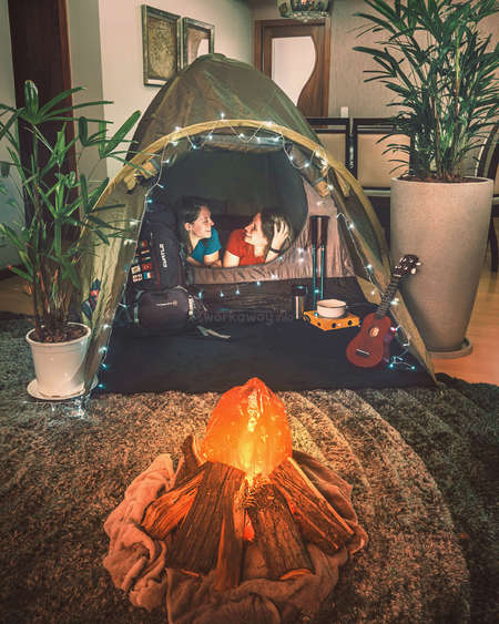 camping tent home female couple happiness adventure