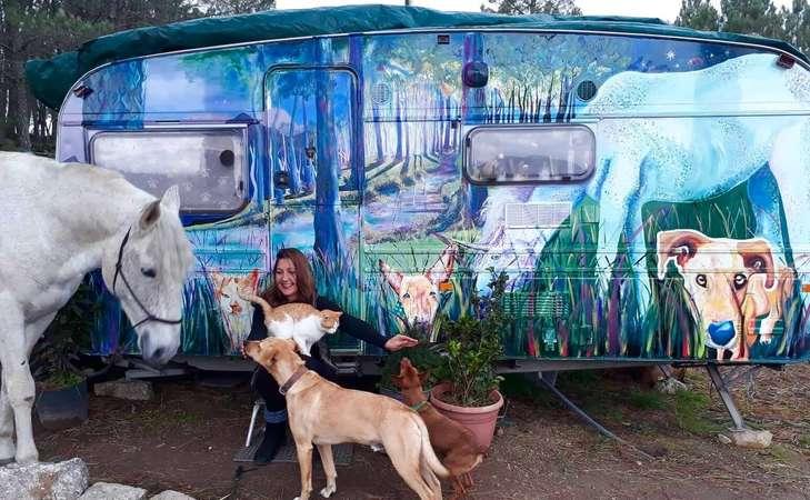 digital nomad campervan art painting animals