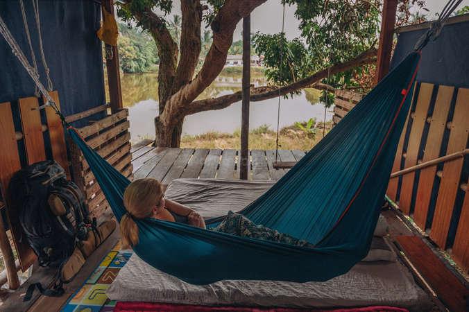 digital nomad tropical hammock chilling