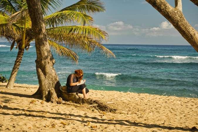 digital nomad book writing tropical beach