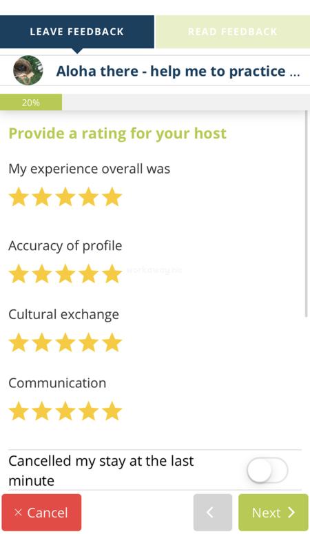 workaway app leave feedback star rating categories