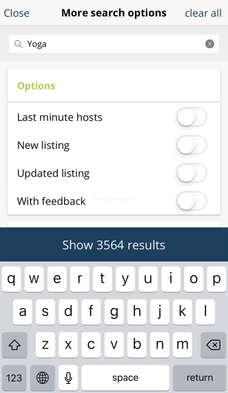 workaway app host search interest projects yoga