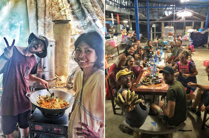 workaway volunteers and hosts cooking and sharing meal together
