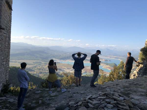 workaway team admiring mountain view quietly