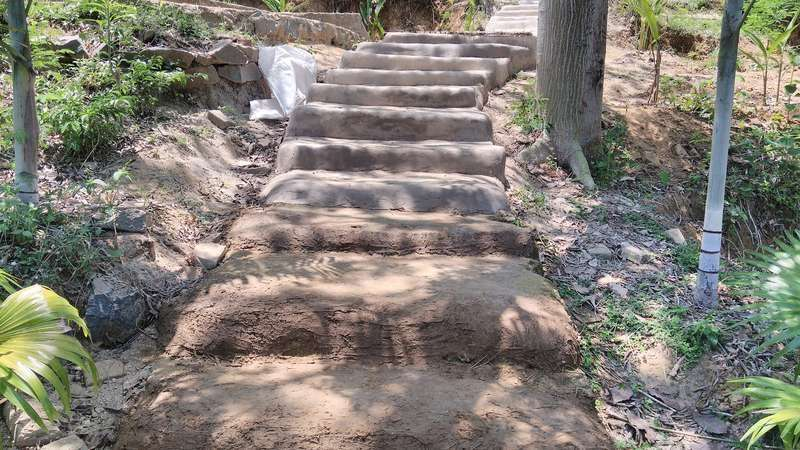 natural building cob construction staircases steps outdoors