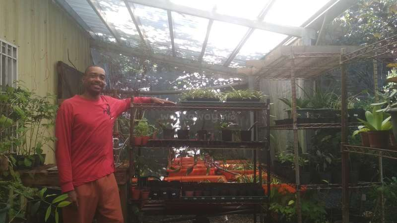 workawayer Kenneth with his potted plants in Taiwan
