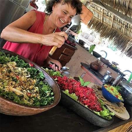 workaway travel vegan salad cooking in outdoor kitchen
