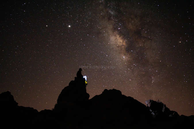 outdoor night skies Milky Way solo travel with light