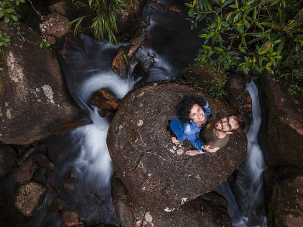 grown up gap year couple travel explore nature waterfall