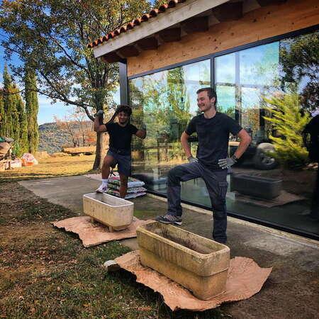 two workawayers enjoy outdoors gardening potting plants nature fun volunteering