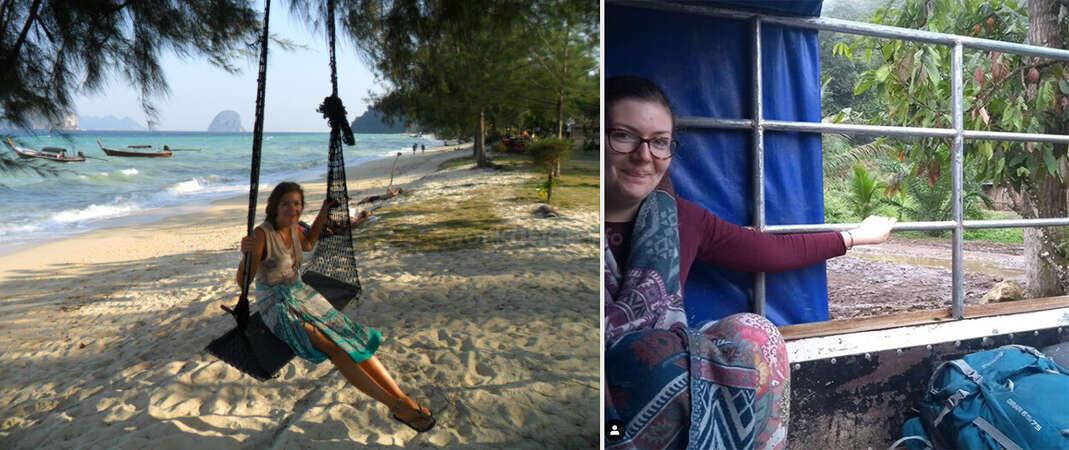 workaway travel collage solo female beach swing Guatemalan van outdoor