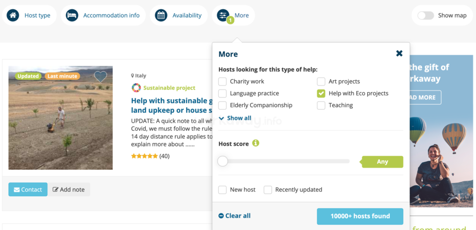 workaway host list preview filter type of help eco projects sustainability volunteering