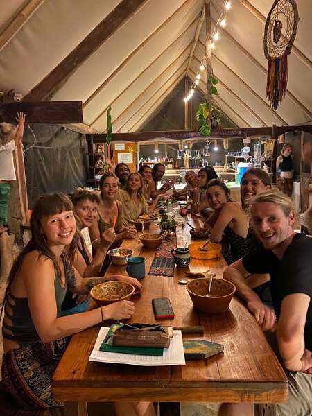 workaway community dinner table share meal