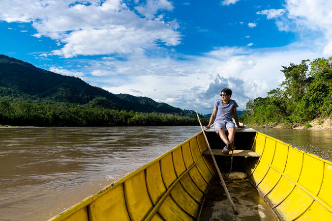 travel break enjoy nature river outdoors boat solo travel escapade
