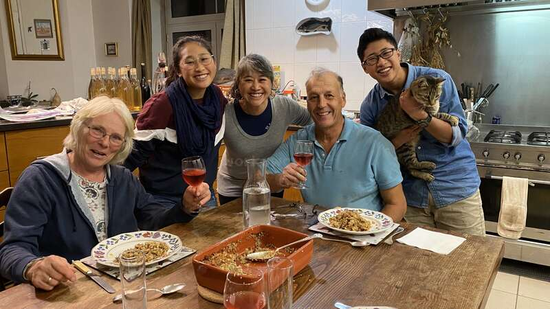 homemade English food dinner and wine with workaway family portugal