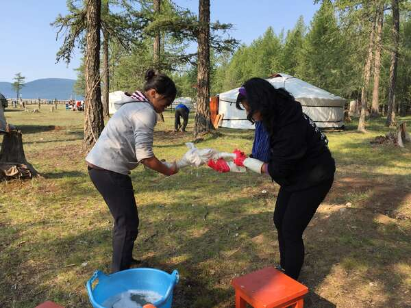 yurt camp fun volunteer chores work exchange washing outdoors with kids