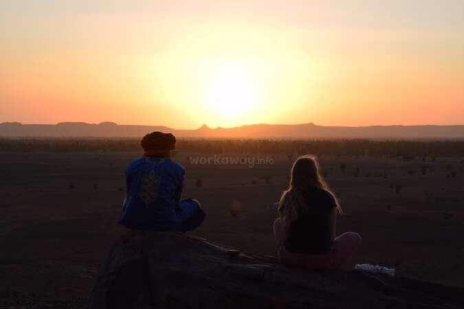 workaway special moments Sahara sunset desert traveller and local