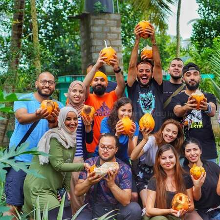 workaway conscious travel experience coconut picking farm group