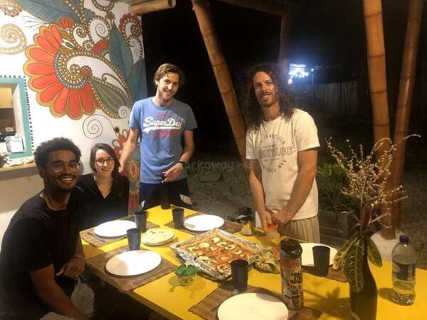 workaway tropical guesthouse team dinner friendship