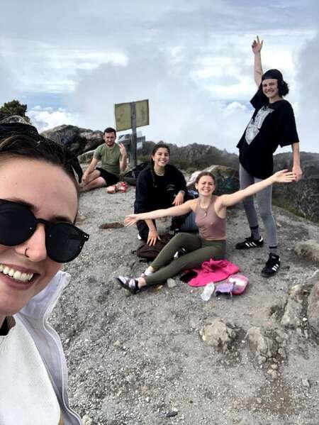 selfie with workaway travel tribe rest mountain trek