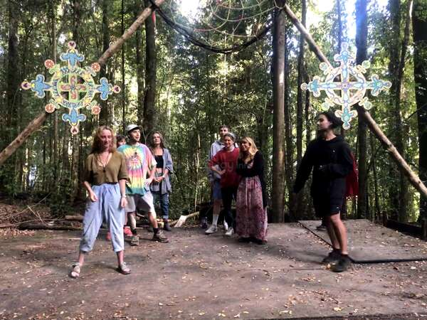 forest hippie activities yoga meditation group travel tribe